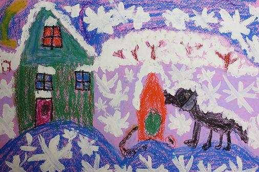 детский рисунок гуашью, работа воспитанника арт-студии Красная ворона, черная собака, зеленый дом, красное дерево, снежинки