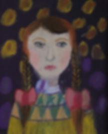 детский рисунок девочки, картина пастелью, работа воспитанника арт-студии Красная ворона, автопортрет с настроением