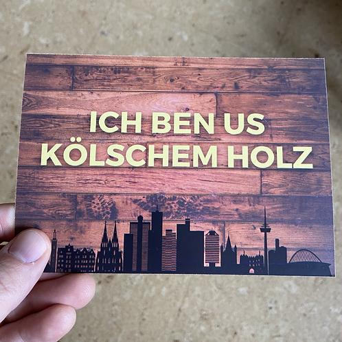 Us kölschem Holz-Postkarte