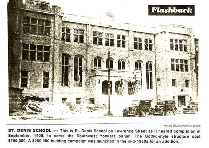 Construction of the, now, abandoned, St. Denis School (1928) in Newspaper artcle