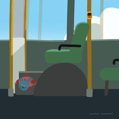 バスのいちばん前の席に座りたいこどものカニ