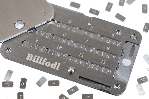 ハードウェアウォレット用ステンレス製シードバックアップツール Billfodl(Trezor、Ledger, KeepKey等に対応)