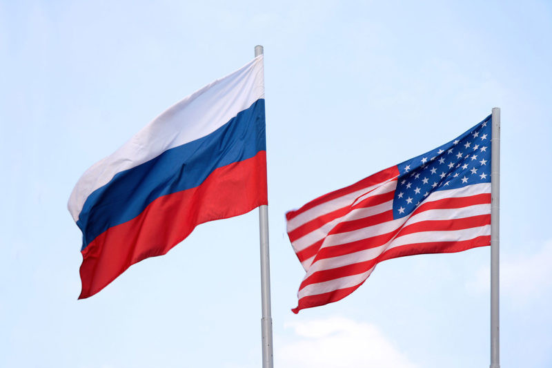 Russia and The United States flags