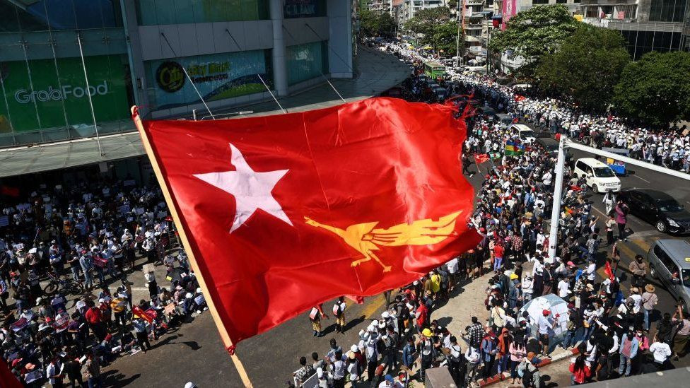 Protestors in Myanmar's streets