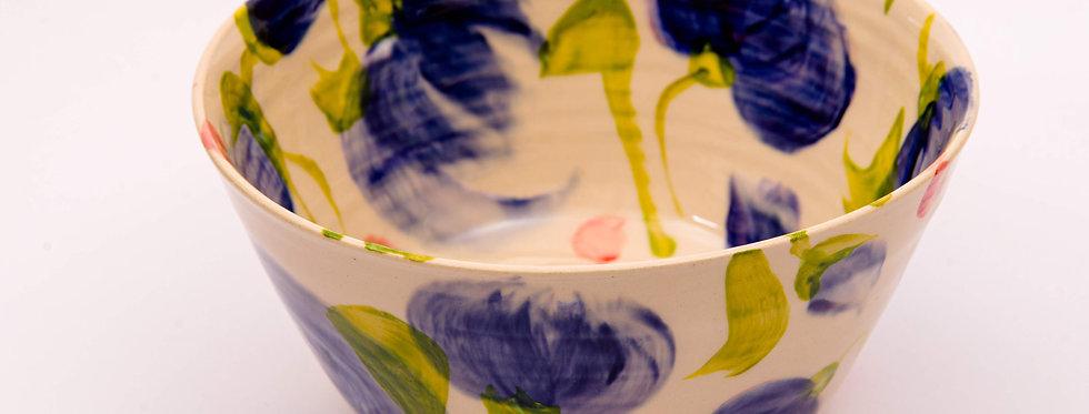 קערית פרחים כחול - איריס בלום