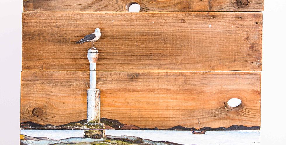 ציור שמן על עץ- ׳מגדלור׳ - אורנה טנא