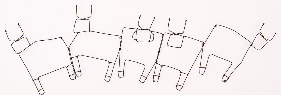 פיסול בחוט ברזל -שרשרת שוורים - תמר חדד