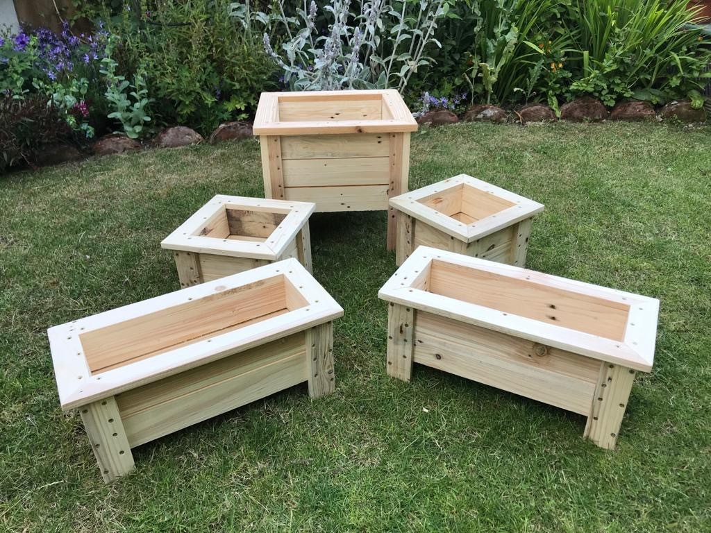 Handmade upcycled wooden planters