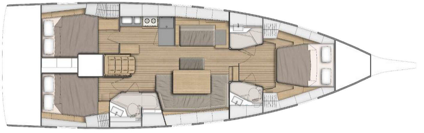 Plan d'aménagement intérieur de l'Oceanis 46.1
