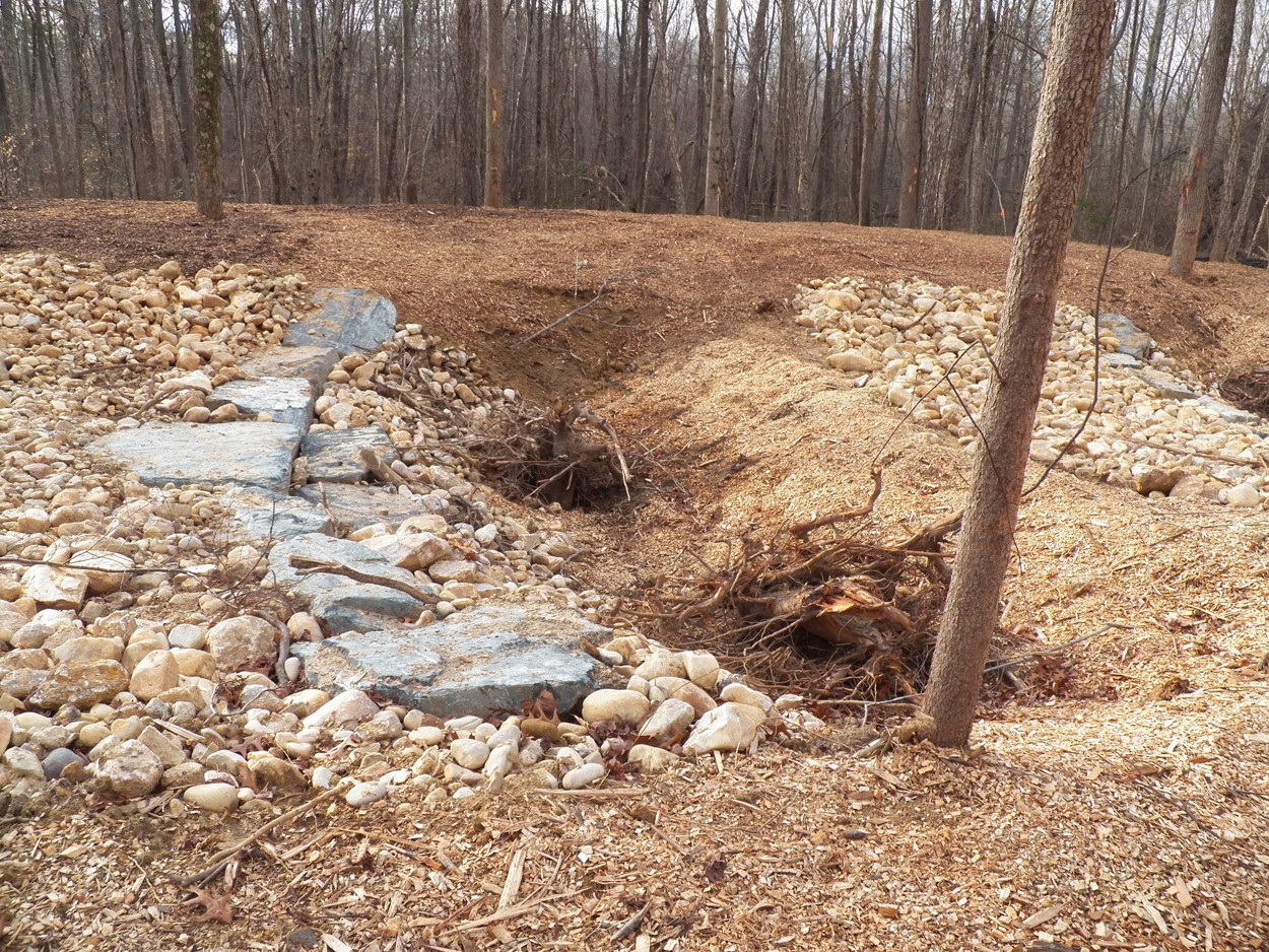 Ruppert's Ravine: large woody debris, which was stockpiled during the clearing operation, placed in the pools
