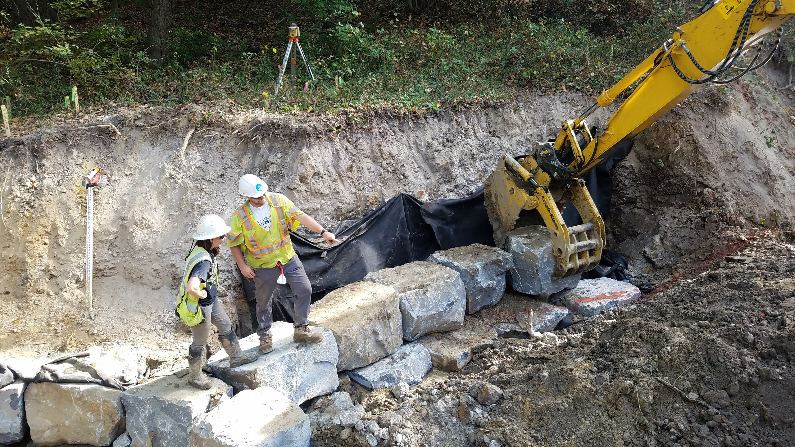 Sean Anger - EQR crew members are installing a Step Pool Sequence on a stormwater fed tributary of Barnaby Run in Temple Hills, MD.  The work is associated with WSSC's initiative to stabilize select stream reaches in effort to protect existing Sanitary Sewer assets.