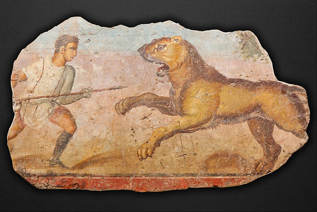 640px-Painting_from_the_Amphitheatre._Hunter_with_lioness_-_Google_Art_Project.j