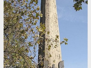 One of the two red-granite obelisks