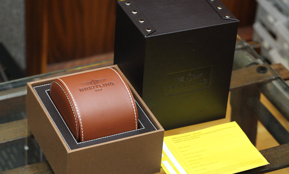 Breitling Complete Box Brown Leather Blank Papers
