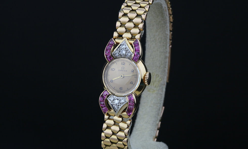 Omega Ladies Rose Gold Diamonds Rubies