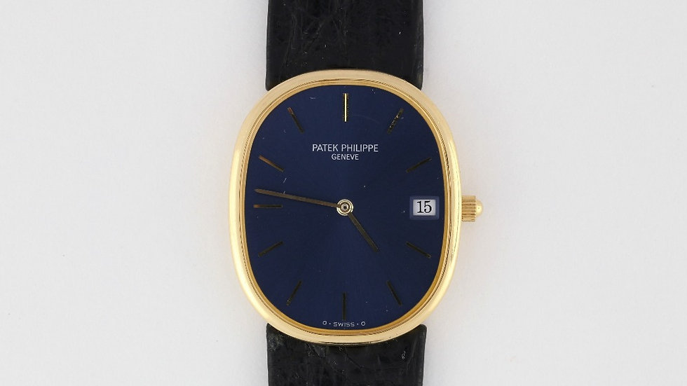 Patek Philippe Ref 3788 Ellipse Blue Dial 18K Yellow Gold