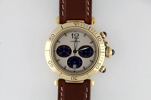 Cartier Pasha Chronograph Ref 30009 18k Gold on Diametris Strap