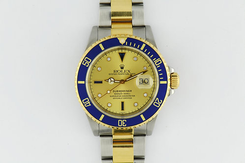 Rolex Submariner 16613 Factory Diamond Sapphire