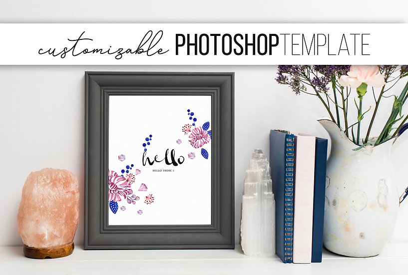 Grey and Floral Frame Mockup