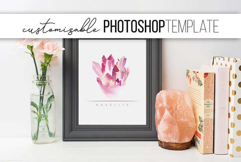 Grey Picture Frame Mockup with Pink