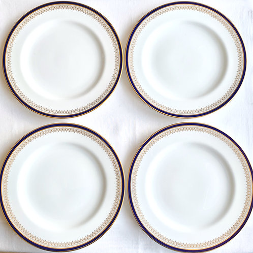 Vintage Spode Navy and Gold Dinner Plates set of 4