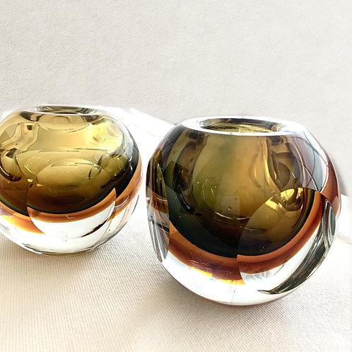 Pair of Amber Bowl Vases