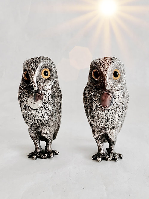Antique Silver Owl Salt and Pepper
