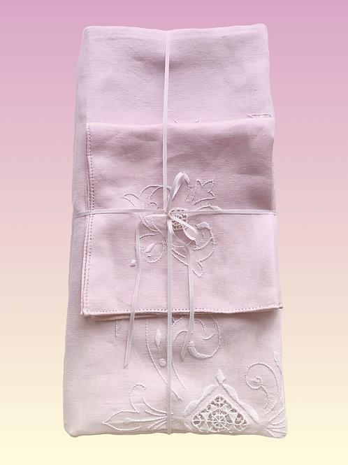 "Rectangular Fleur de Lys Pink Tablecloth 96""x62"" with 8 Napkins"
