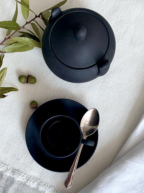 Antique Wedgwood Black Basalt Espresso Set for 4