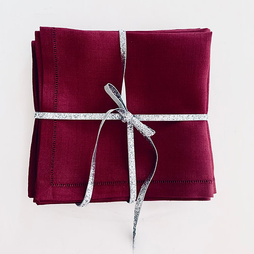 Burgundy Linen Cocktail Napkins Set