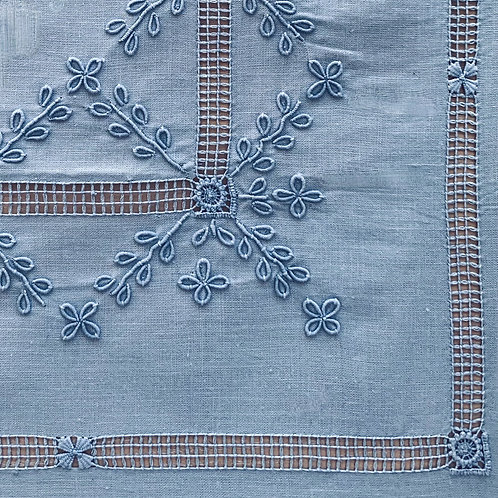 Sky Blue Hand Embroidered Large  Rectangular Tablecloth and 12 Napkins S