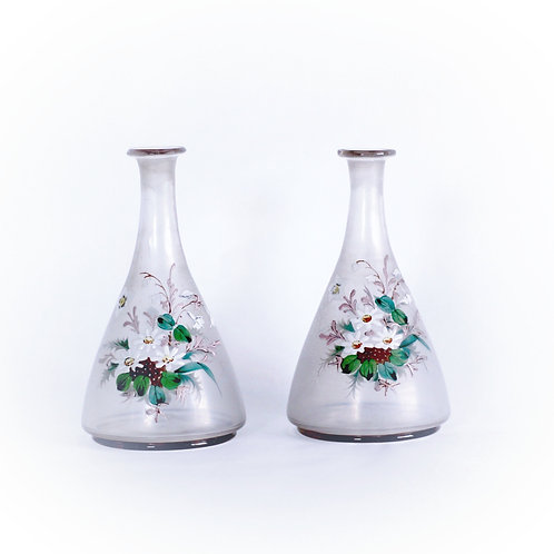 Pair of Victorian Hand-Painted Bud Vases