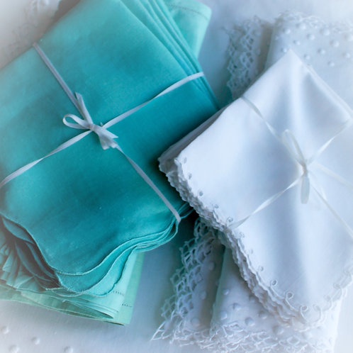 Azure Linen Scalloped Napkins, set of 6