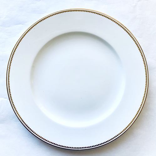 Antique White and Gold George Jones Dinner Plates, Set of 7