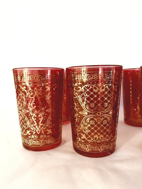 Venetian Cranberry Gold Glass Set