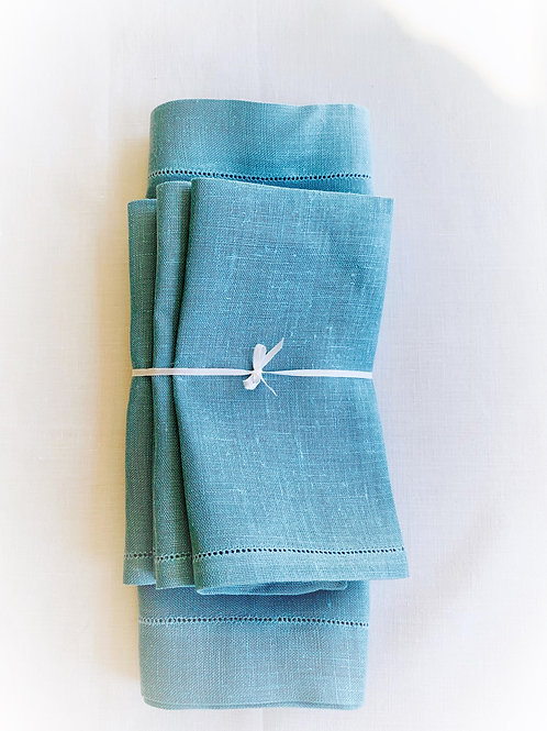 Cadet Blue Linen Placemat and Napkin, Set for 4
