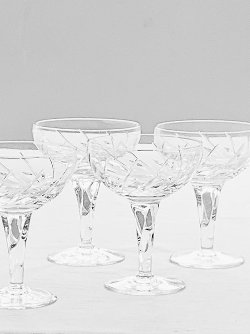 Pair of Swirl Crystal Champagne Coupes