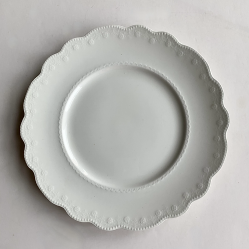 Antique White Ironstone Dinner Plates Set of 4