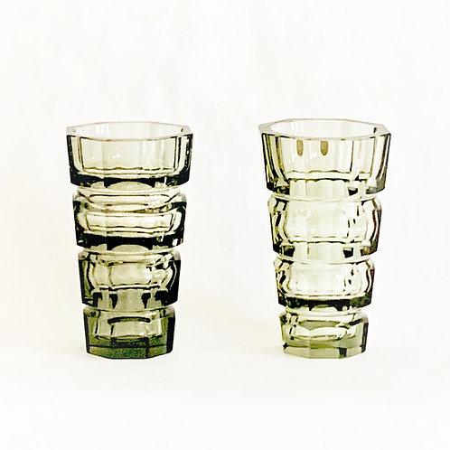 Pair of Gray Quartz Crystal Deco Vases