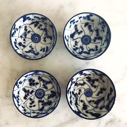 Antique Hand Painted Japanese Blossom Salt Bowls
