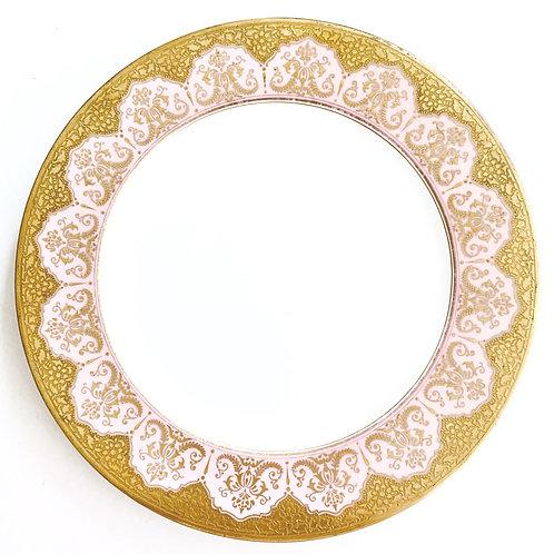 Antique Set of 11 Pink And Gold Coalport Dinner Plates