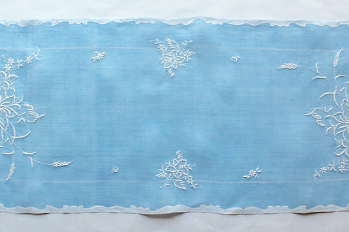 L'Heure Bleue Embroidered Linen Table Runner