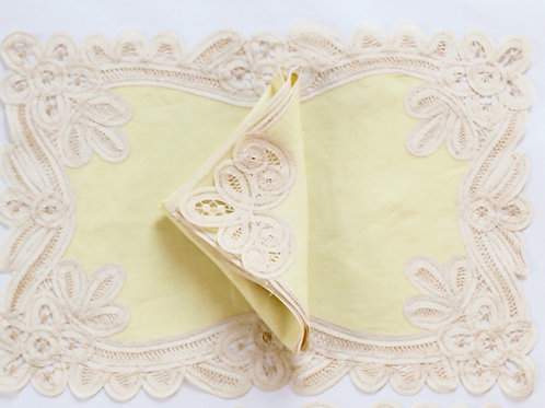 Lace and Linen Placemat and Napkin Set for 4