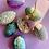 Thumbnail: Hand made petit floral aqua/ mauve papier mache egg box
