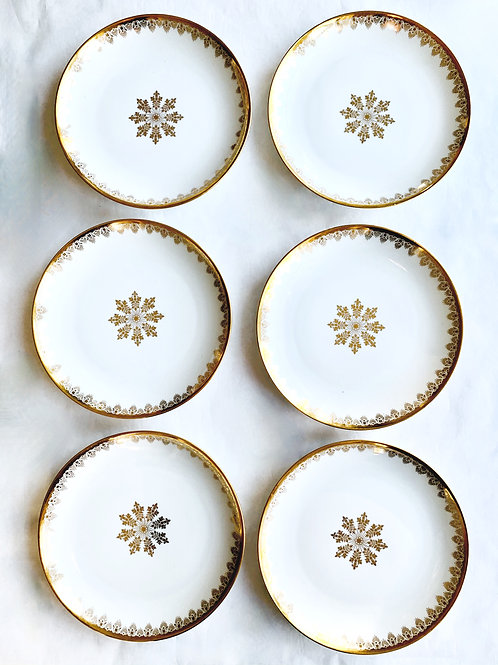 Antique Gold Limoges Snowflake Dessert Plates, Set of 6