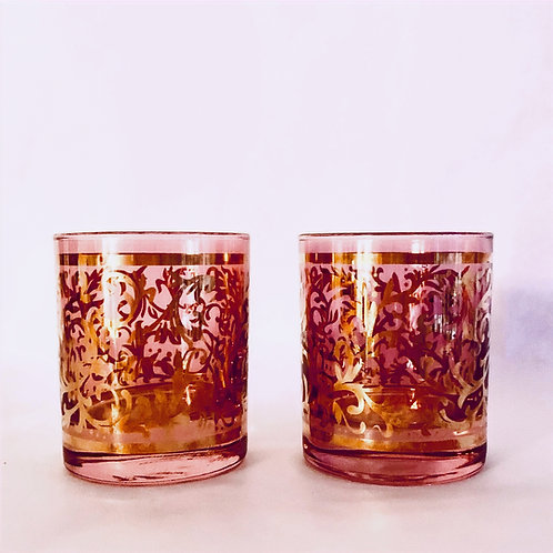 Pair of Venetian Cranberry Gold Lowball Glasses