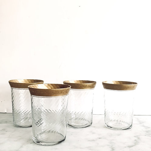 Antique set of 4 Gold Rimmed Swirl Tumblers