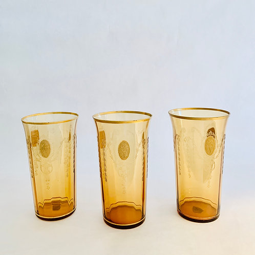 Vintage Amber Glass Tumblers