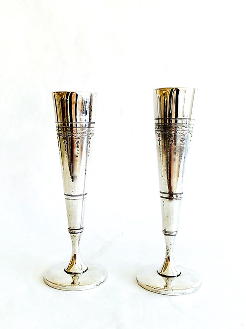 Pair of Antique Silver Bud Vases