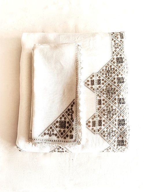 Hand-Embroidered Tablecloth and Napkin Set